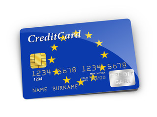 Credit Card covered with European flag.
