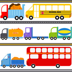 Vector Icons : Bus, Truck Vehicles / Freight Transportation