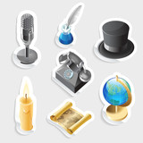 Retro sticker icon set