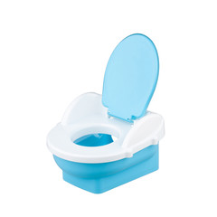 Blue baby toilet isolates on white