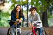 Young people biking