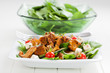 Spinach salad with roasted chanterelle mushrooms