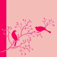 oiseaux rose fond rose sur branche