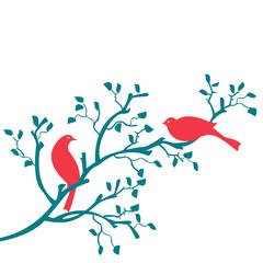 oiseaux sur branche turquoise et rouge