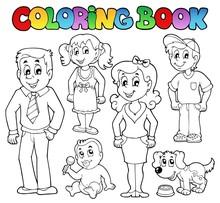 Kolekcja kolorowanki rodzina książki 1
