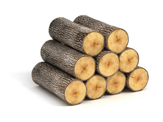 stack of firewood logs on white background