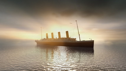 Ocean liner Titanic on calm sunset seas