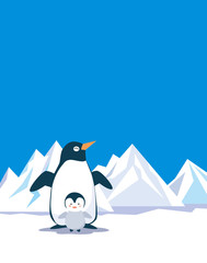 ペンギン親子と氷山
