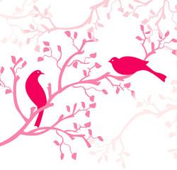 oiseaux roses sur branche rose