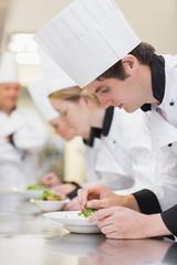 Culinary class making salads