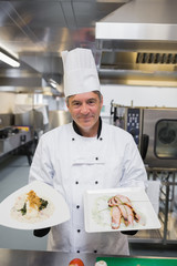 Chef presenting two dishes