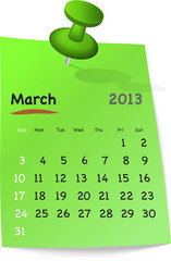Calendar for march 2013 on green sticky note