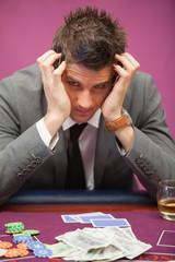 Depressed man in a casino