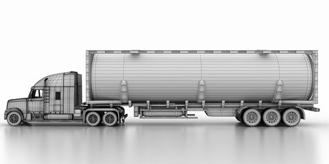 The concept,tank truck, (paper models of the 3-d model)