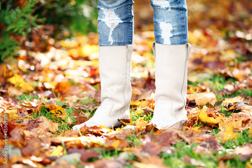 Walking through the autumn leaves