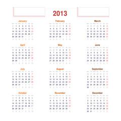 2013 Simple Calendar
