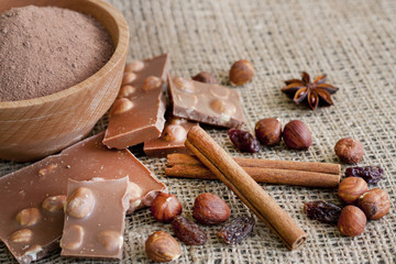 Chocolate nuts cocoa and ingredients