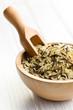 wild rice in wooden bowl