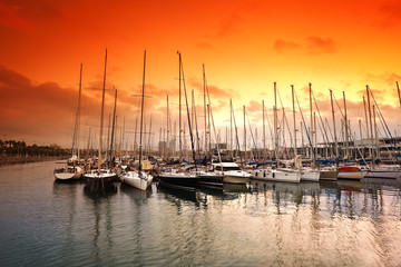 Port Vell - marina in Barcelona. Spain.