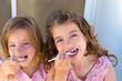 Blue eyes kids sister girl eating breakfast
