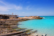 Es Calo port in Formentera with aqua water