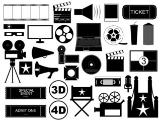 Movie elements isolated on white