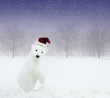 White bear with Santa Claus hat in snowy field