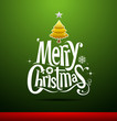 Merry Christmas lettering on green background