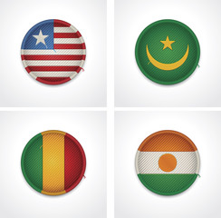 Flags of countries as fabric badges