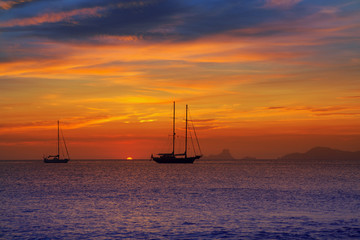 colorful sunset of Ibiza view from formentera