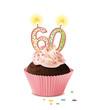 Cupcake mit Kerze und die Zahl 60