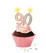 Cupcake mit Kerze und die Zahl 90