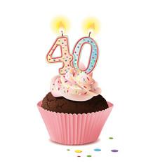 Cupcake mit Kerze und die Zahl 40