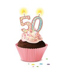 Cupcake mit Kerze und die Zahl 50