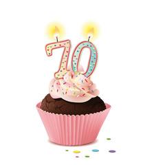 Cupcake mit Kerze und die Zahl 70