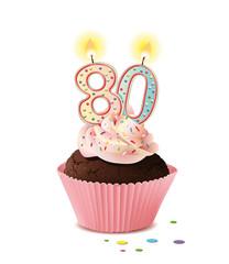Cupcake mit Kerze und die Zahl 80