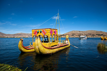The floating and tourist  Islands of lake Titikaka Puno Peru Sou