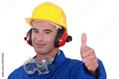 Man wearing safety goggles