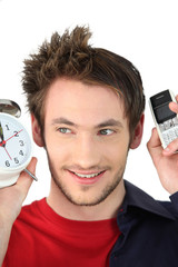 Concept shot showing a man waking and then ready for work