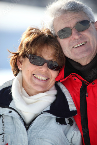 Portrait of couple in snow