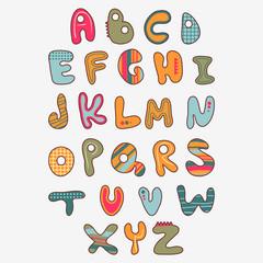 Cute funny childish alphabet
