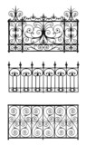 Set of forged decorative lattice isolated on white background