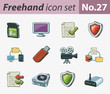 freehand icon set - technology and security