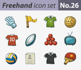 freehand icon set - sport
