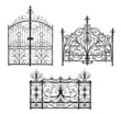 Collection of black forged gates with decorative lattice