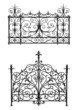 Collection of black forged gate with decorative lattice