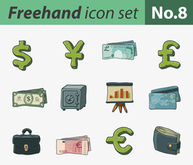 freehand icon set - finance