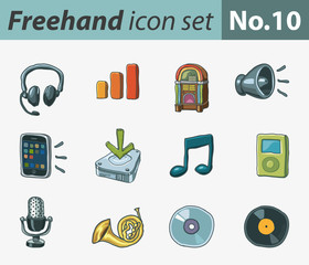 Freehand icon set - music and sound