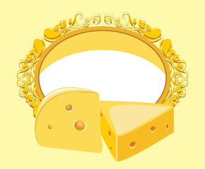 Decorative frame with piece of cheese