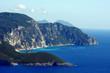Pejzaż z klifowym wybrzeżem, grecka wyspa Korfu